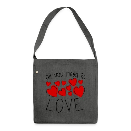 All you need is love - Schultertasche aus Recycling-Material