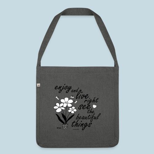 Blumen - Schultertasche aus Recycling-Material