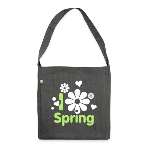 i love spring Frühling Blume Herz Liebe Sommer - Shoulder Bag made from recycled material
