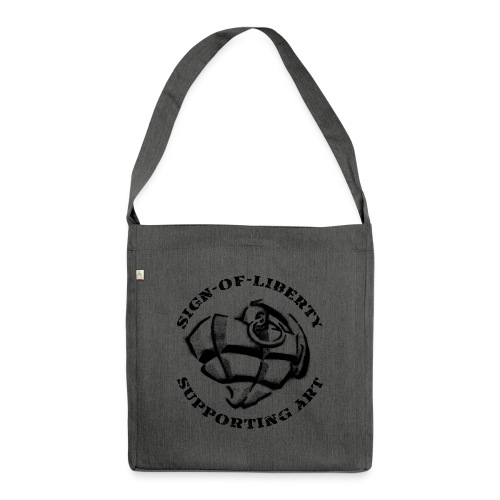 Sign-of-Liberty Supporting Art schwarz - Schultertasche aus Recycling-Material