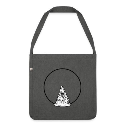All sehendes Auge Pizza (schwarzer Druck) - Schultertasche aus Recycling-Material