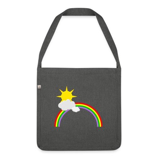Regenbogen, Sonne, Wolken - Schultertasche aus Recycling-Material