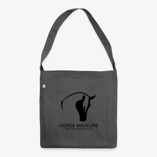 Horse Majeure Logo / Musta - Olkalaukku kierrätysmateriaalista