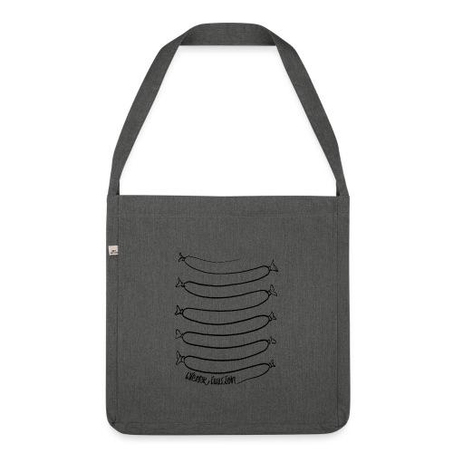 Wiener Illusion (schwarz auf weiß) - Schultertasche aus Recycling-Material