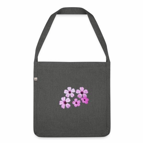 Blumen violett - Schultertasche aus Recycling-Material