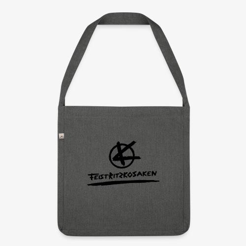 Feistritzkosaken Logo dunkel - Schultertasche aus Recycling-Material