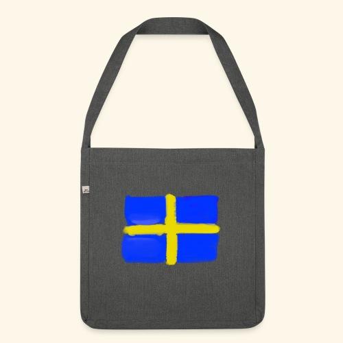 Swedish flag in Watercolours - Axelväska av återvinningsmaterial