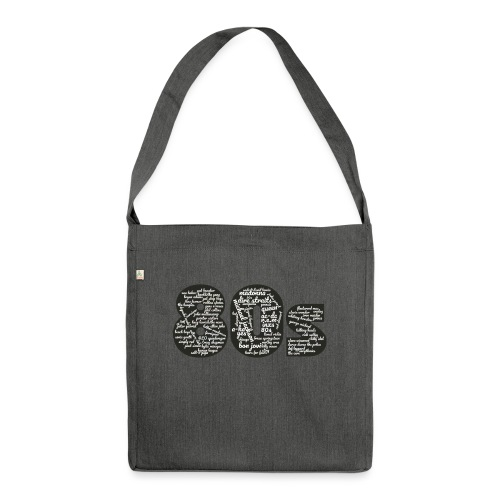 Cloud words 80s white - Shoulder Bag made from recycled material