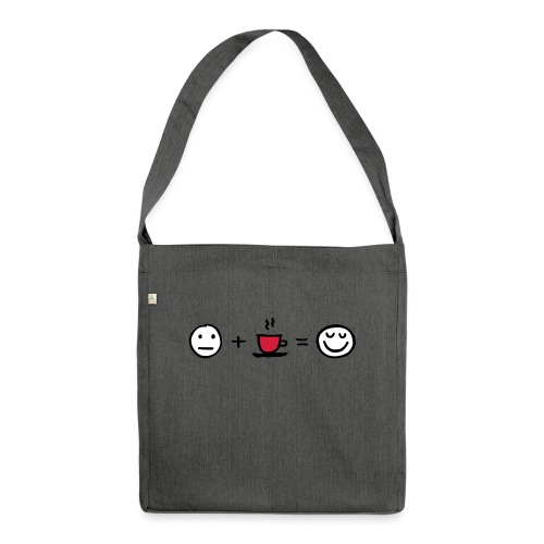Coffee makes me happy - Schultertasche aus Recycling-Material