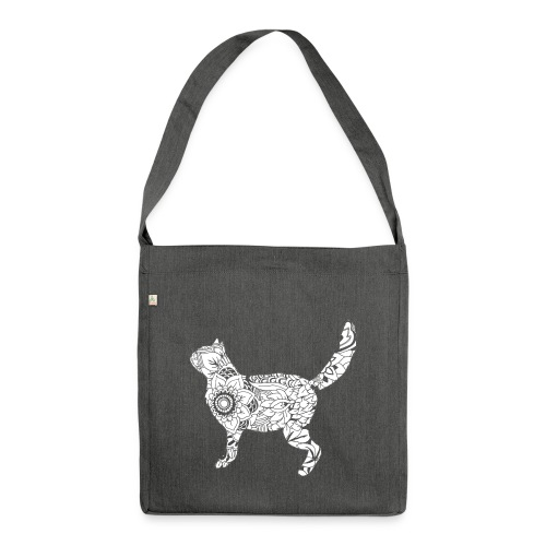 White standing cat - Shoulder Bag made from recycled material
