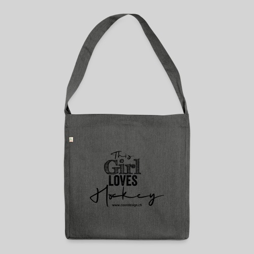This Girl loves Hockey (black) - Schultertasche aus Recycling-Material