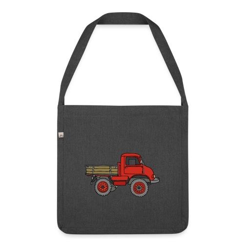 Roter Lastwagen, LKW, Laster - Schultertasche aus Recycling-Material
