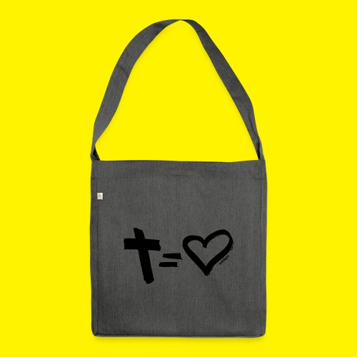 Cross = Heart BLACK - Shoulder Bag made from recycled material