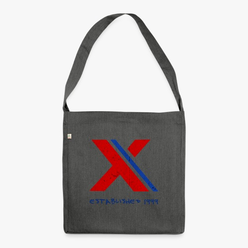 extrembb logo red blue x - Schultertasche aus Recycling-Material
