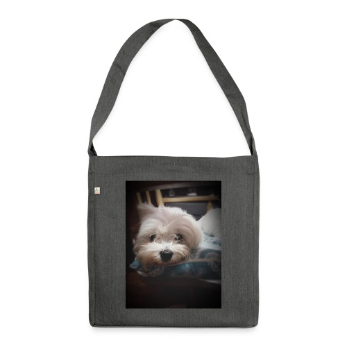 Pure White Pup - Shoulder Bag made from recycled material