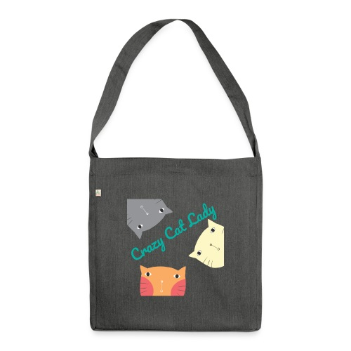 Crazy Cat Lady, Katze - Schultertasche aus Recycling-Material