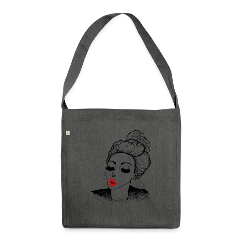 Vintage Retro Girl Kiss message - Shoulder Bag made from recycled material