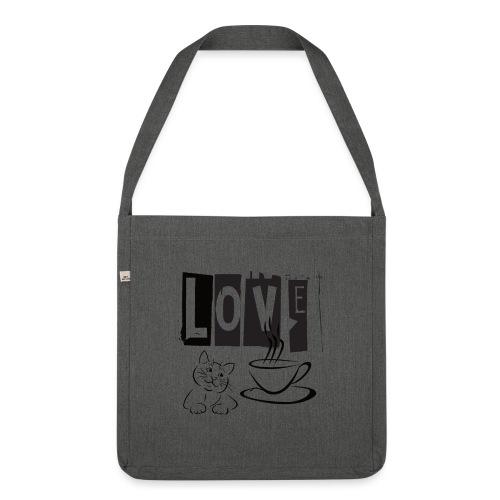 Love Katze Kaffee - Schultertasche aus Recycling-Material