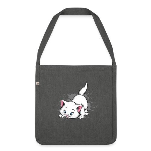 Katze Splash Pfützen Sprung - Schultertasche aus Recycling-Material