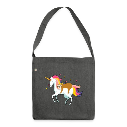 Funny Sloth Riding Unicorn - Schultertasche aus Recycling-Material