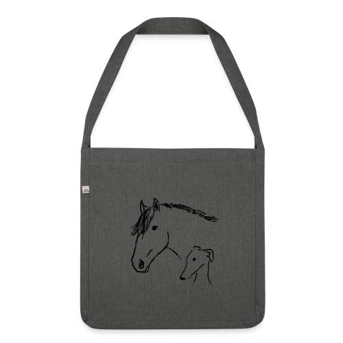 Windhund und Pferd - Schultertasche aus Recycling-Material