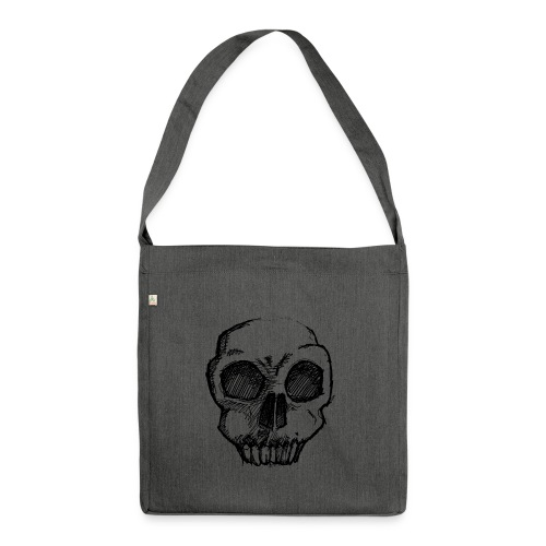 Skull sketch - Shoulder Bag made from recycled material
