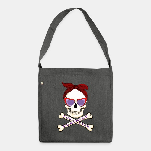Feminist skull - Bandolera de material reciclado