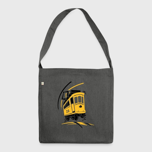 Tramway 28 cartoon Lisbonne - Sac bandoulière 100 % recyclé
