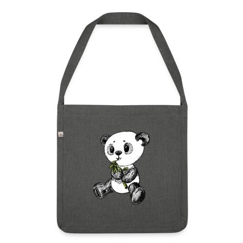 Panda bjørn farvet scribblesirii - Skuldertaske af recycling-material