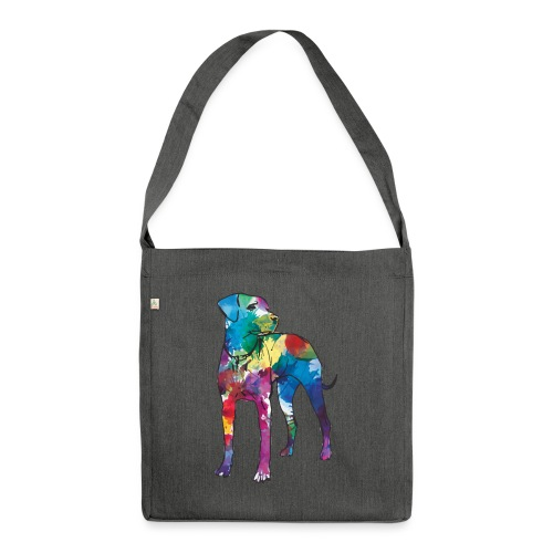 Labrador Hund Hunde bunte Silhouette - Schultertasche aus Recycling-Material