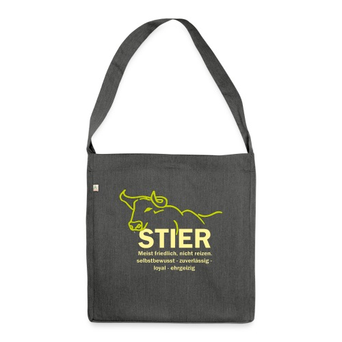 Stier Strich Gruen Text Gelb - Schultertasche aus Recycling-Material
