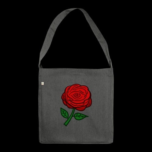 Rote Rose - Schultertasche aus Recycling-Material