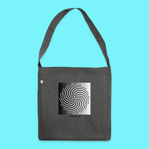Fibonacci spiral pattern in black and white - Shoulder Bag made from recycled material