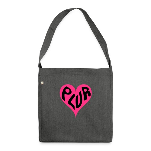 PLUR - Peace Love Unity and Respect love heart - Shoulder Bag made from recycled material