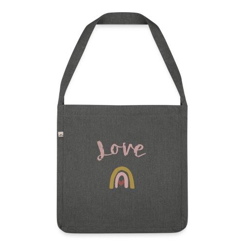 Love/Liebe - Schultertasche aus Recycling-Material
