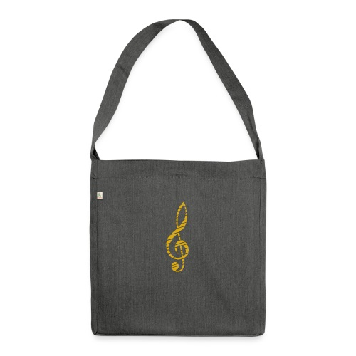 Goldenes Musik Schlüssel Symbol Chopped Up - Shoulder Bag made from recycled material