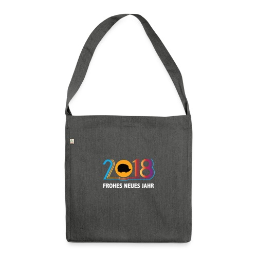 Frohes neues Jahr 2018 Igeldesign - Schultertasche aus Recycling-Material