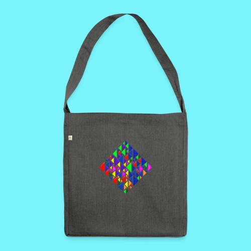 A square school of triangular coloured fish - Shoulder Bag made from recycled material