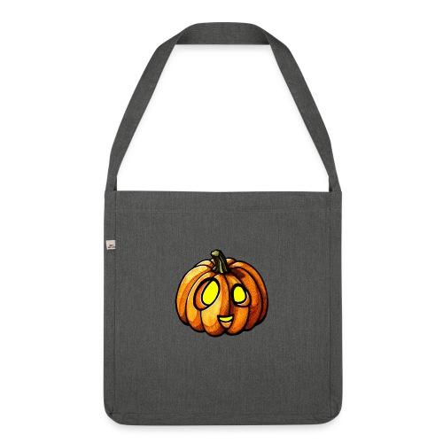 Pumpkin Halloween watercolor scribblesirii - Olkalaukku kierrätysmateriaalista