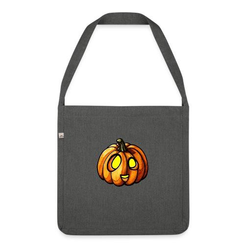 Pumpkin Halloween watercolor scribblesirii - Schultertasche aus Recycling-Material