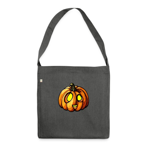 Pumpkin Halloween watercolor scribblesirii - Shoulder Bag made from recycled material