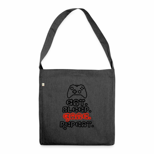 Eat. Sleep. Game. Repeat. - Schultertasche aus Recycling-Material
