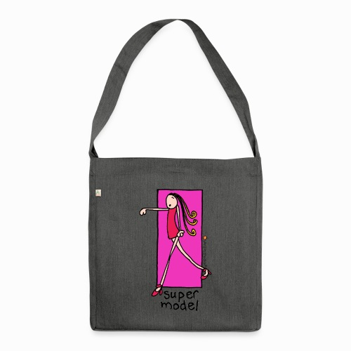 super model - retro bang on the door - Shoulder Bag made from recycled material