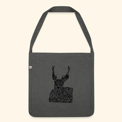 deer black and white - Olkalaukku kierrätysmateriaalista