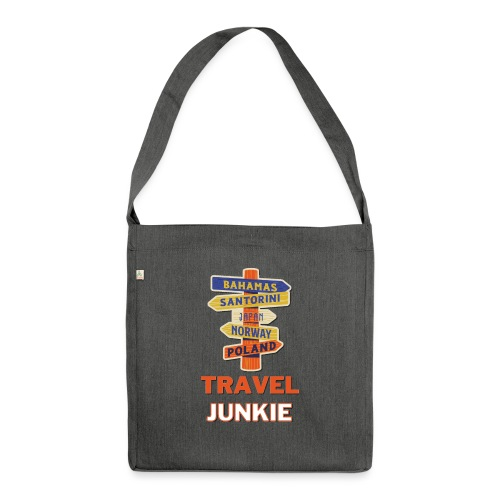traveljunkie - i like to travel - Schultertasche aus Recycling-Material