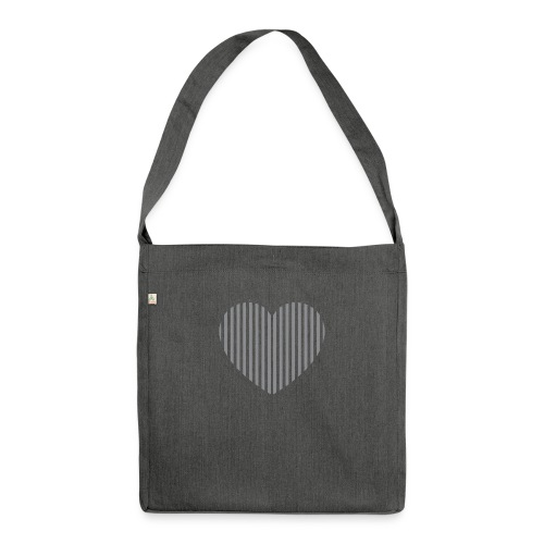 heart_striped.png - Shoulder Bag made from recycled material