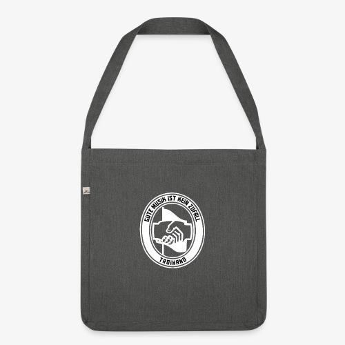 Logo Troihand invertiert - Schultertasche aus Recycling-Material