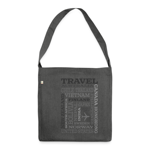 Travel Places Gray design - Olkalaukku kierrätysmateriaalista
