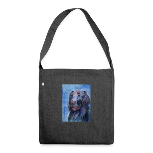 flatcoated retriever - watercolor - Skuldertaske af recycling-material