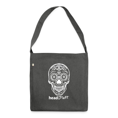 Skull & Logo white - Schultertasche aus Recycling-Material